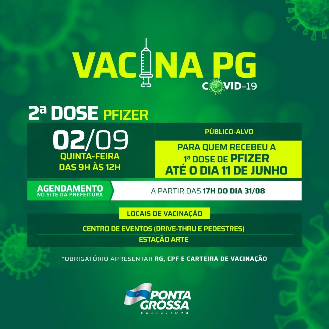 Prefeitura de PG vacina 2ª dose de Astrazeneca e Pfizer na quinta-feira