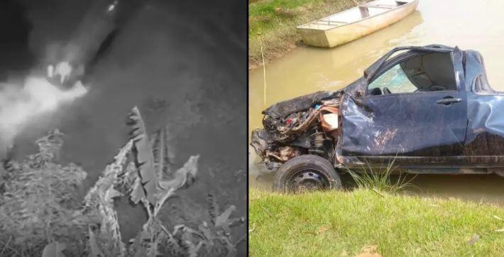 Homem morre após carro capotar e cair dentro de rio