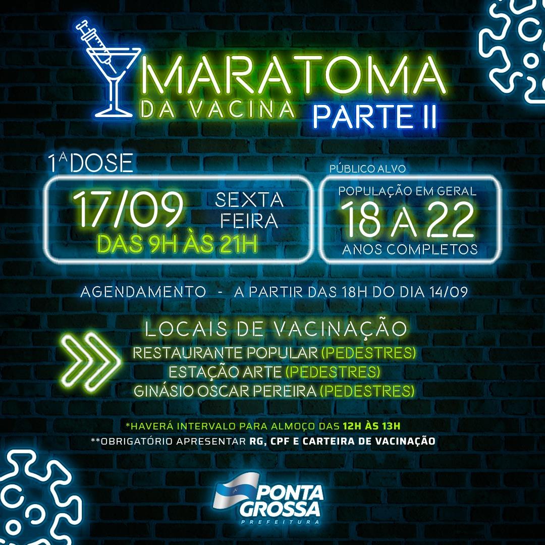 Corre: Vacinação para 18 a 22 anos completos em Ponta Grossa