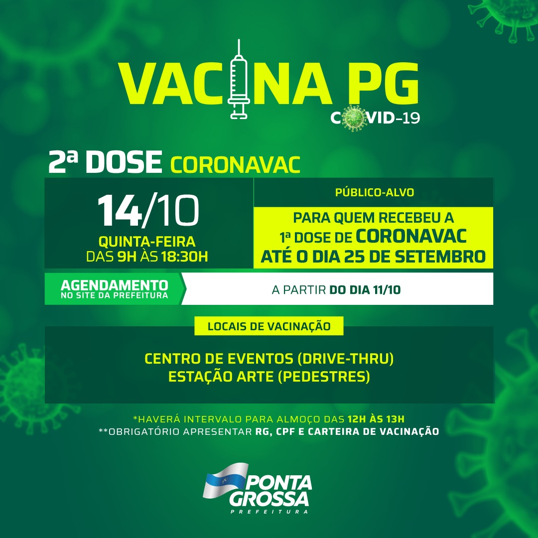 Vacinação covid-19 tem nova etapa para 2ª dose de Coronavac em PG